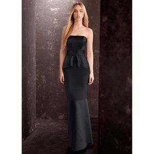 White by Vera Wang black satin strapless maxi gown